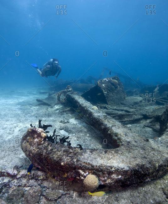 Large sunken shipwreck anchor, West End, Bahamas