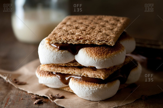 S'mores in a rustic setting