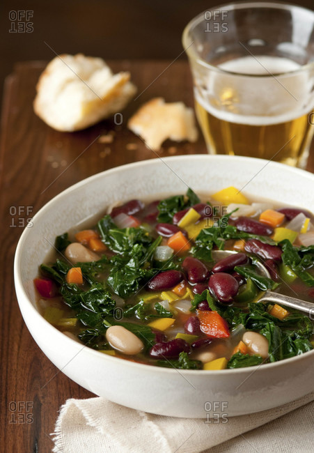 A bowl of vegetable bean soup