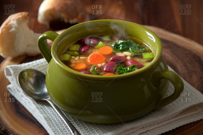 Vegetable barley and bean soup