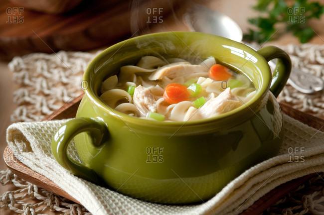 Hot chicken noodle soup