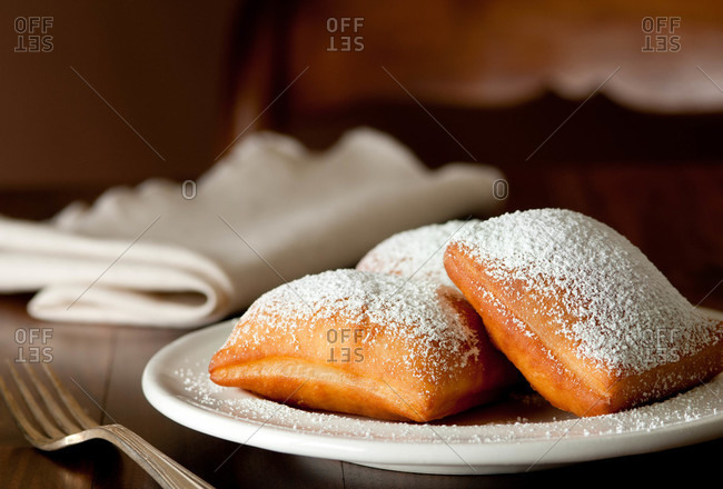 Beignets topped with powdered sugar