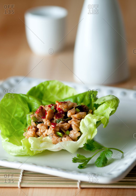 Chicken lettuce wraps with shiitake mushrooms, celery and red pepper flakes