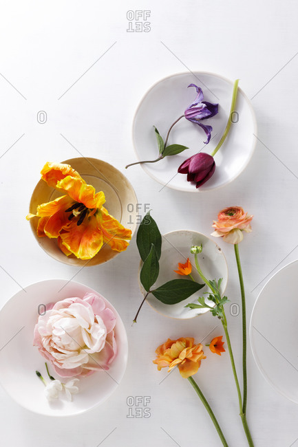 Different type of flowers decoration in bowls