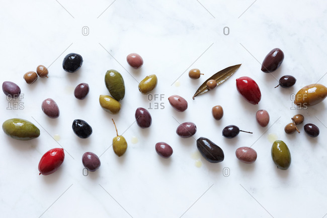 Top view of various olives