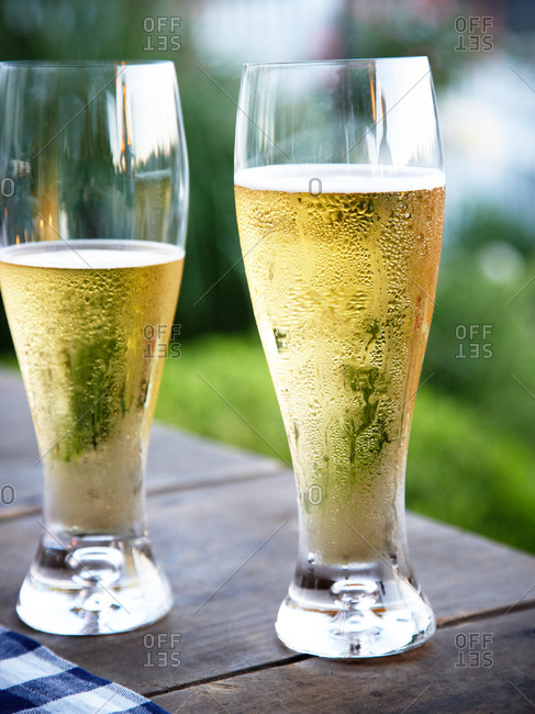Two glasses of chilled beer