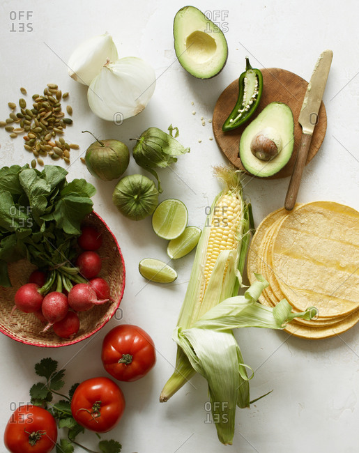 Ingredients for making Mexican guacamole and salsa