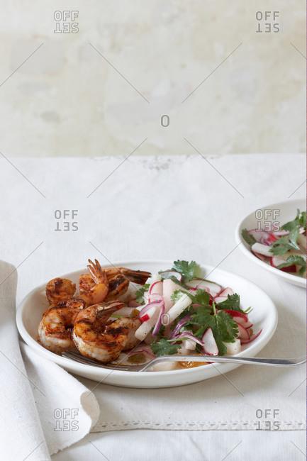 Chipotle shrimp with radish and jicama salad