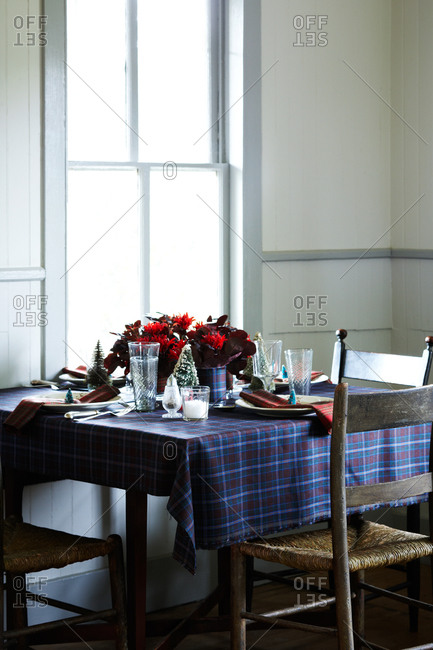 Still life of dining room interior at Christmas