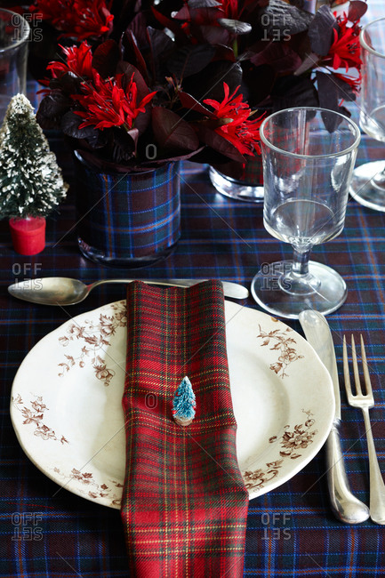 Close-up of at Christmas place setting