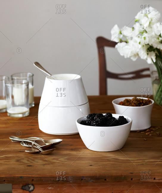 Breakfast still life on dining table