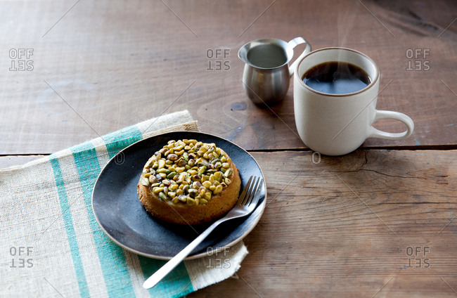 Pistachio tart served with morning coffee