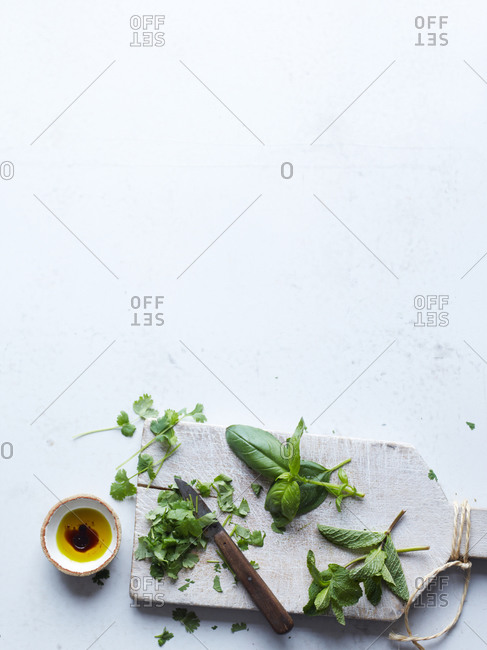 Top view of different culinary herbs