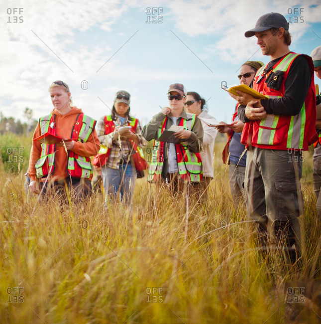 Group of people take notes while conducting field research