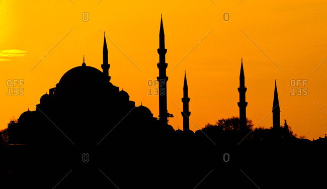 Silhouette of a mosque, Blue Mosque, Istanbul, Turkey