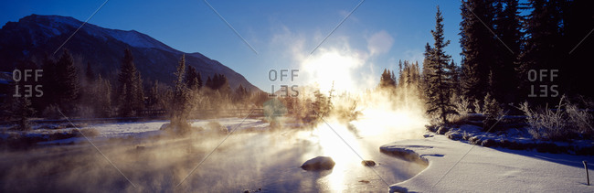 Sunrise over a creek, Policeman's Creek, Canmore, Alberta, Canada