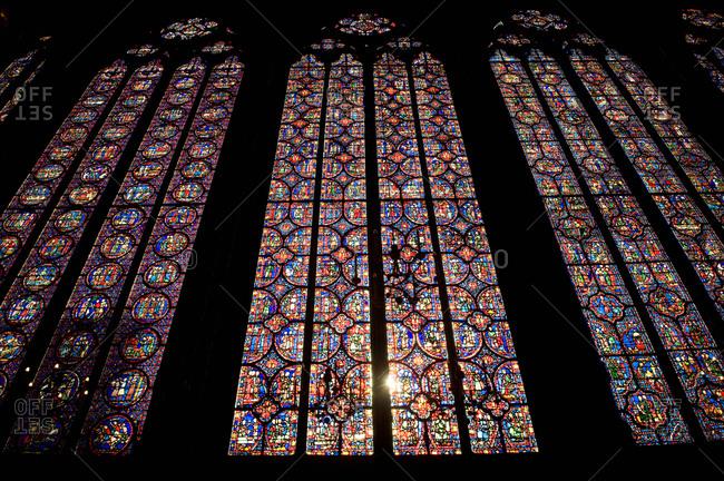 Low angle view of the window of a church, Saint-Severin, Paris Latin Quarter, Paris, Ile-De-France