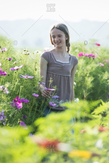 A young girl in a field of flowers