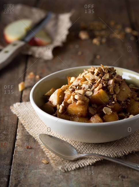 Bowl of apple crisp