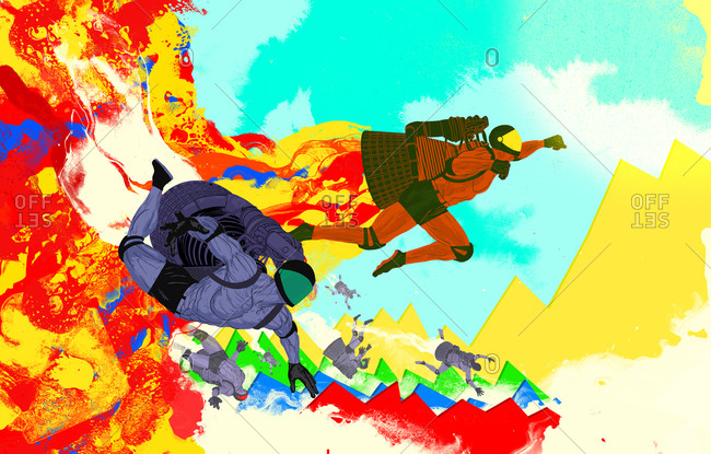Superheroes rocketing over mountains