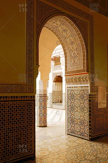 Large patio columns with azulejos decor, Islamo-Andalucian art
