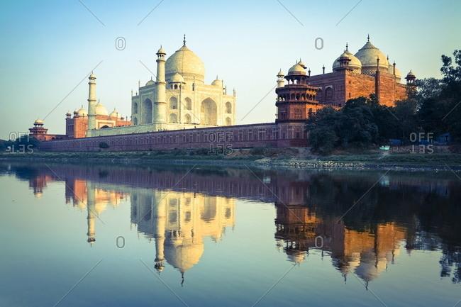 The Taj Mahal reflected in the Yamuna River, Agra, Uttar Pradesh, India