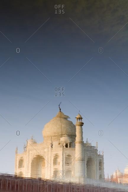 The Taj Mahal reflected in the Yamuna River, Agra, Uttar Pradesh, India, Asia