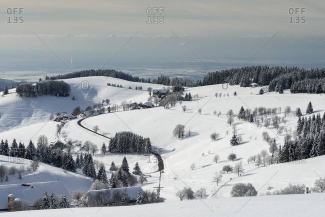 View of Muenster Valley covered in snow,  Wuerttemberg, Baden, Germany