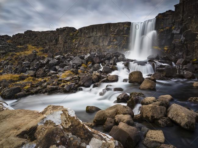 Black and white scene of Oxararfoss in Tingvellir National Park