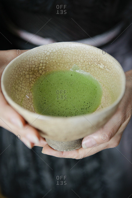 Close-up of a cup of matcha tea