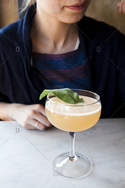 Sparkling wine cocktail with sage
