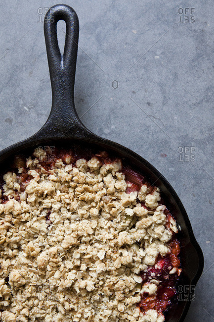Overhead view of rhubarb crumble