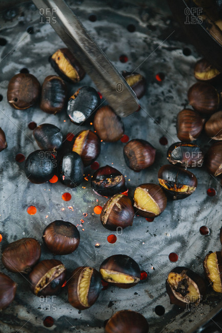 Overhead view of roasted chestnuts