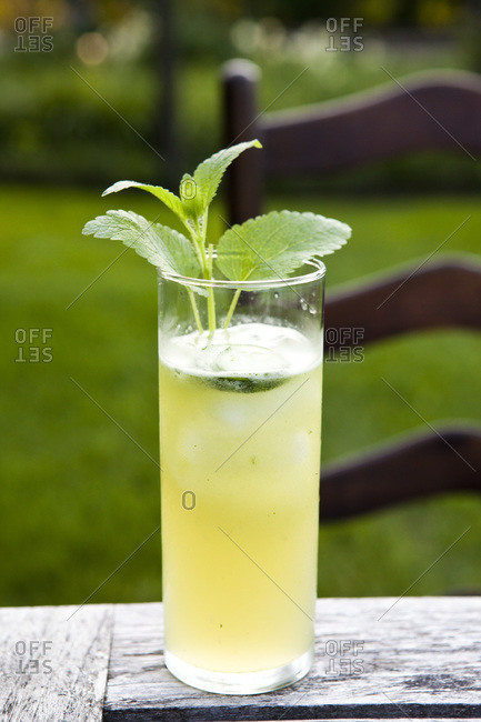 Lemonade on table in garden