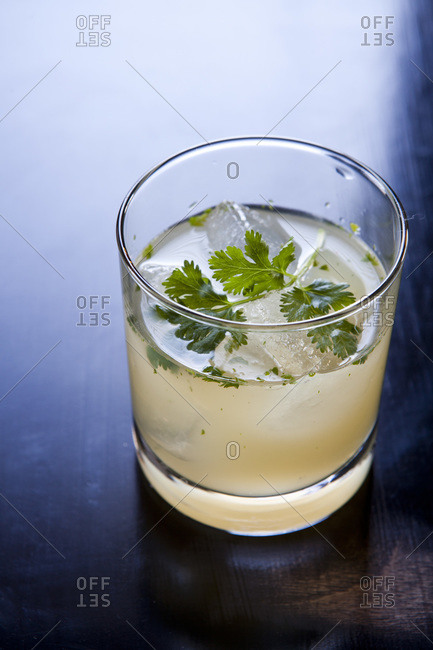 Cocktail decorated with parsley
