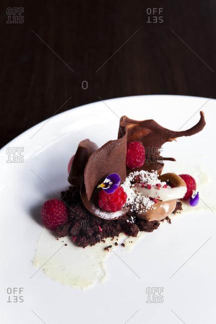Brownie with raspberries