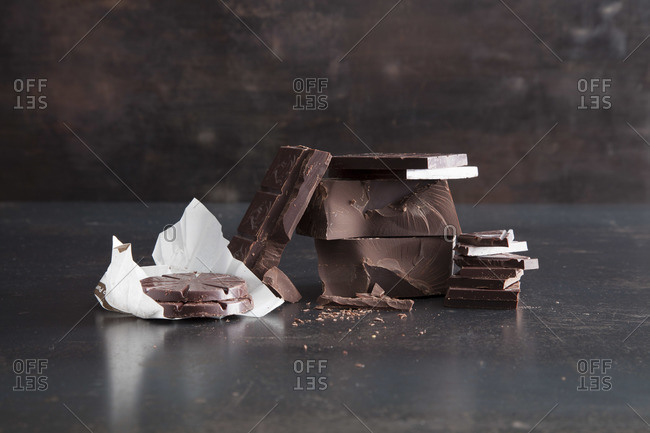 Milk chocolate composition on table