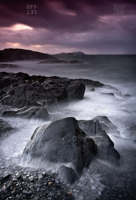 Tide along rocky coastline