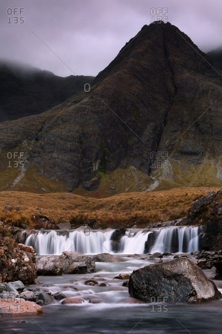 Waterfall at the black cuillin and faerie pools