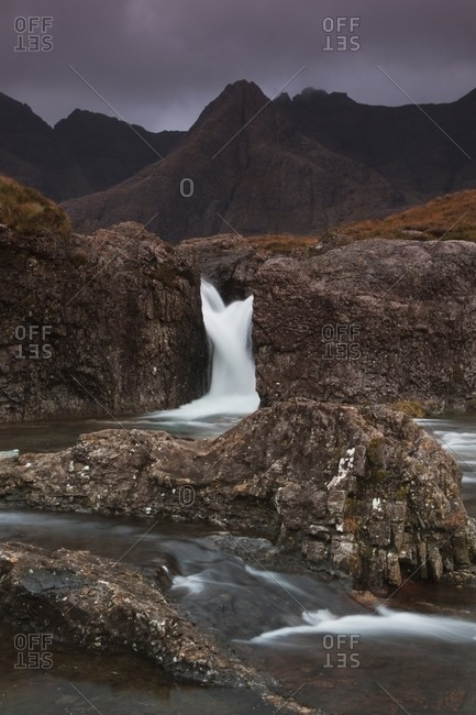 Single waterfall at the black cuillin and faerie pools