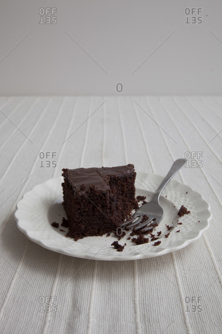Piece of Ozark Chocolate Cake with bite taken out