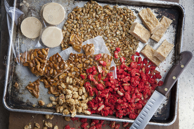 Top view of popular Mexican peanut desserts