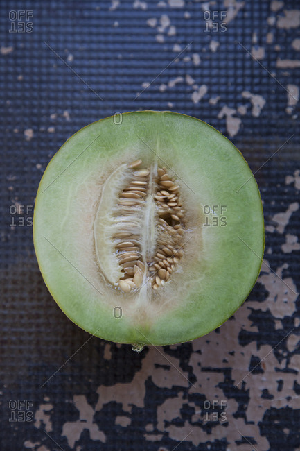 Top view of honeydew cut in half