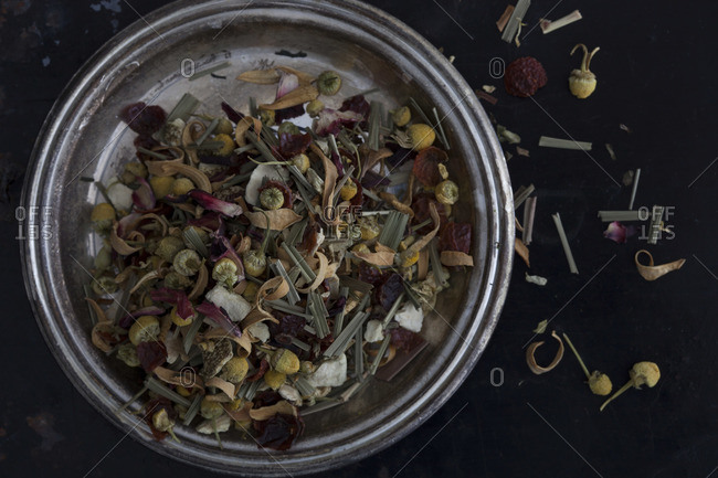 Mixture of dried flower petals and tea leaves