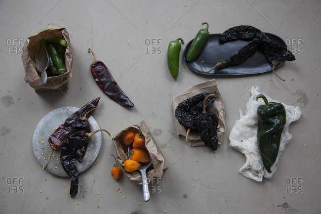 Various types of chilli peppers