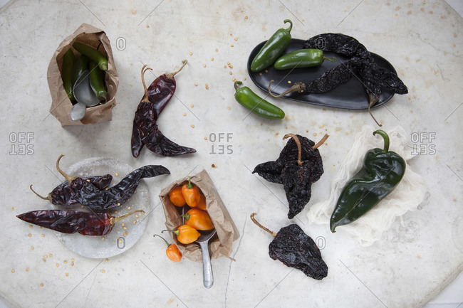 Various types of chili peppers