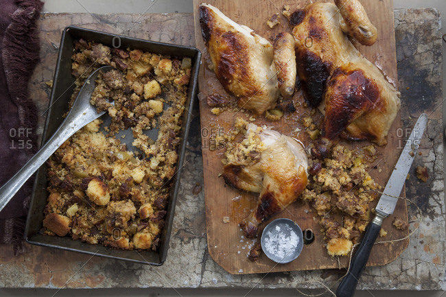 Mexican Thanksgiving Turkey with chorizo, pecan, apple, and corn bread stuffing
