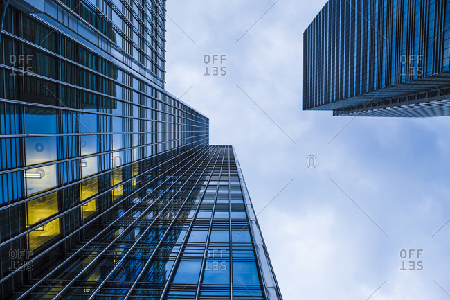 Extreme worms eye view of facades at financal district, Docklands, London, UK