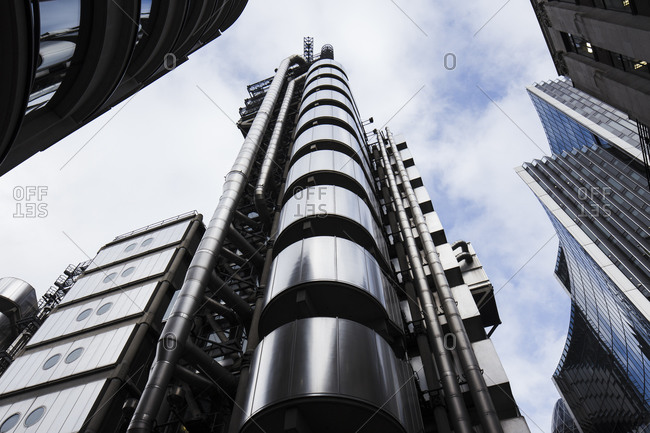 Worms eye view of Lloyds building, London, UK