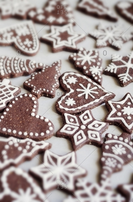 Gingerbread decorated with sugar icing